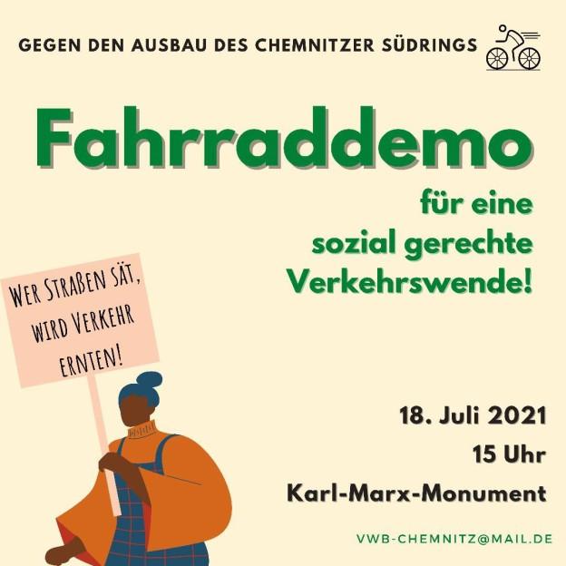 Fahrraddemo, 18.7.21 15:00 Karl-Marx-Kopf
